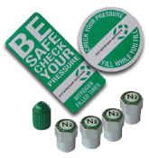 Tire Hazard - RoadSide Assist - Customer Retention Program. Includes 4 Chrome ABS Plastic and 1 Green ABS Plastic Caps, Two Awareness Decals and Registration Card